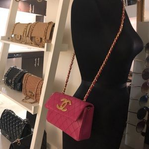Auth CHANEL Pink Leather Gold CC Mini Crossbody